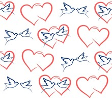 The Seamless Background With Hearts And Pigeons.