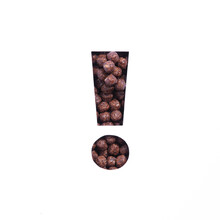 Exclamation Mark Of Chocolate Cereal Balls, White Cut Paper. Typeface For Healthy Nutritional Breakfast Packaging Design