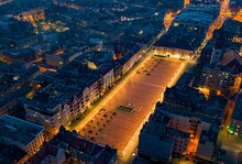 Aerial Drone View On Bytom Town Square At Evening. Silesia, Poland