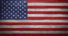 US American Flag Painted On Distressed And Worn Wood. Wallpaper For Memorial Day, Veteran's Day, 4th Of July,or Other USA Patriotic Holidays.