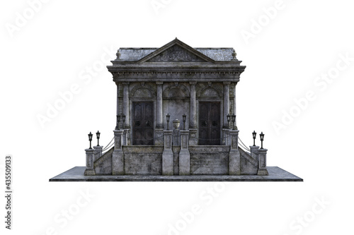 Fototapeta Old baroque building, a mausoleum with stairs and lanterns on a white background, which is isolated from multiple angles for collage and further edits
