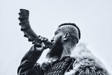Brutal Viking With Horn