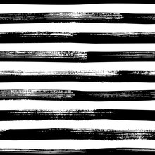 Grunge Bold Lines Vector Seamless Pattern. Horizontal Brush Strokes, Straight Stripes Or Lines. Black Ink Striped Hand Drawn Background. Geometric Ornament For Wrapping Paper. Dry Brushstrokes Pattern