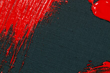 Abstract Creative Background: Red Spots, Strokes And Splashes Of Colored Primer When Toning A Black Canvas, A Temporary Object.