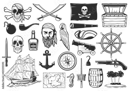 Papel de parede Pirates and treasures map icons, Caribbean island and sea adventure, vector
