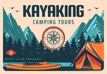 Kayaking And Camping Tours Retro Banner. Recreation Activity Trip, Rafting On River In Wild. Hiking And Outdoor Travel Club Vintage Poster With Kayak, Tourists Tent On Mountain River Or Lake Shore
