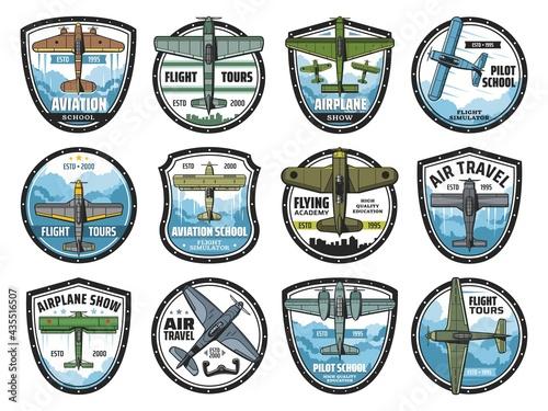 Fototapeta Aviation school vector icons