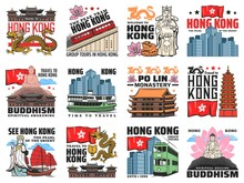 Hong Kong City Landmarks Icons. Great Buddha On Lotus, Asian Dragon And Hong Kong Flag, Ferry, Cityscape And Buddhist Temple, Po Lin Monastery, Pagoda And Golden Bauhinia, Double-decker And Peak Tram