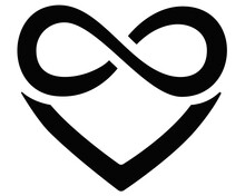 Heart And Infinity - Polyamory Sign - Vector Silhouette Illustration For Logo, Icon Or Pictogram. A Sign Of Heart And Infinity, Endless Love, A Large Number Of Partners For Identity.