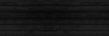 Panorama Of New Black Vintage Wooden Wall Texture And Background Seamless Or A Black Wooden Fence