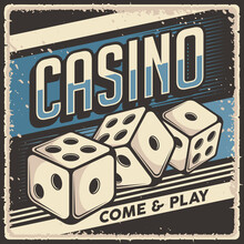 Retro Vintage Illustration Vector Graphic Of Casino Dice Fit For Wood Poster Or Signage