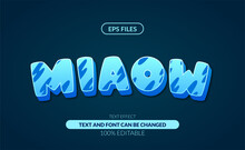 3d Cute Miaow Blue Editable Text Effect. Eps Vector File Background