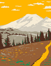 WPA Poster Art Of Mount Rainier Viewed From Cowlitz Divide Along The Wonderland Trail Located In Mount Rainier National Park In Washington State Done In Works Project Administration Style.