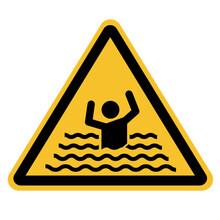 Swim Forbidden Icon On White Background. Beware Of Drowning Sign. Drowning Warning Sign. Flood Warning Symbol. Flat Style.