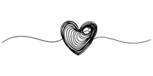 Hand Drawn Heart With Thin Line, Divider Shape, Tangled Grungy Round Scribble Isolated On White Background.Vector Illustration