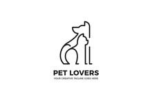 Dog And Cat Pet Care Monoline Logo Template