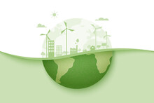 Green Energy And Eco City Background.Ecology And Environment Conservation Resource Sustainable Concept.Vector Illustration.