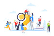 Q and A or FAQ concept with tiny people characters, big question mark, frequently asked questions template. Answers business support concept flat style design vector illustration.