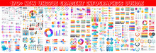 Business Infographic Modern Elements Set. Business Info Visualization Bundle For Analytics And Statistics Show. Colorful Mosaic Diagram, Stock And Flow Charts, Line And Bar Graphs Vector Illustration.