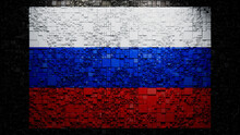 Russian Flag Rendered As Futuristic 3D Blocks. Russia Network Concept. Tech Background.