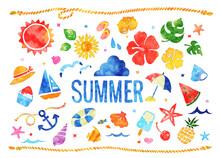 水彩風の夏イラストセット