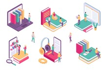 Isometric Online Library. Ebook Dictionary Digital Archive For Student. School Book On Phone Or Computer. Web Literature Learning Vector Set