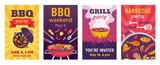 Barbecue posters. BBQ party invitations for summer outdoor picnic in park or back yard with food on grill. Cookout event flyers vector set
