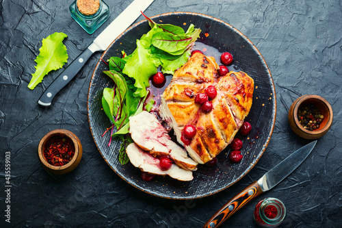 Valokuvatapetti Grilled chicken fillet with cherry syrup
