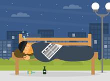 Homeless Man Vagabond Sleeping On Street Bench Vector Illustration