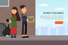 Homeless Children Vagabond Begging For Money With Mug Vector Illustration