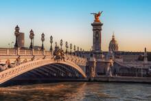 Alexandre III Bridge In Paris At Sunset