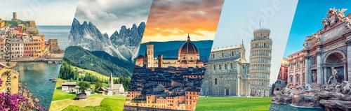 Obraz na plátně Italy famous landmarks collage