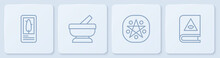 Set Line Tarot Cards, Pentagram In Circle, Mortar And Pestle And Ancient Magic Book. White Square Button. Vector