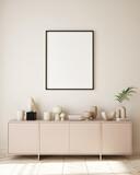 mock up poster frame in modern interior background, living room, Minimalistic style, 3D render, 3D illustration - 435568119