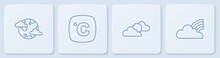 Set Line Earth Planet With Clouds, Sun And Weather, Celsius And Rainbow. White Square Button. Vector