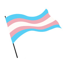 Illustration Of A Transgender Pride Flag Blowing In The Wind.