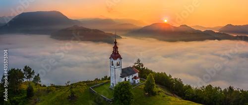 Obraz na płótnie Sebrelje, Slovenia - Aerial panoramic drone view of the beautiful hilltop church of St