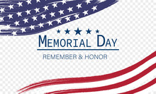 Memorial Day Banner For Holiday And Sales Day. Isolated On Transparent Background