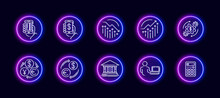 10 In 1 Vector Icons Set Related To Money Trade Theme. Lineart Vector Icons In Neon Glow Style