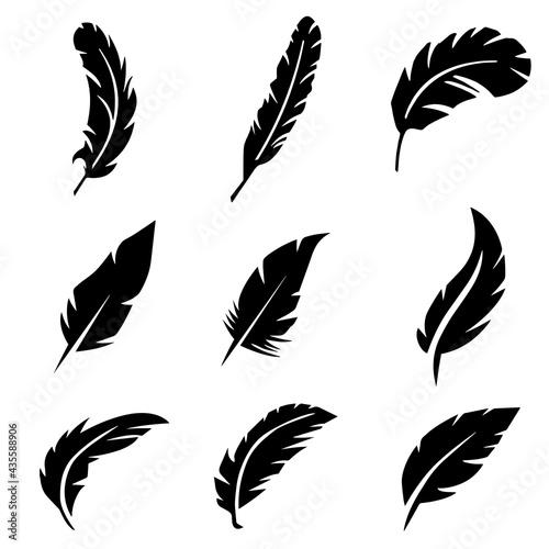 Canvastavla silhouette of birds feather