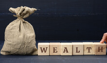 Full Bag And Inscription Wealth On Wooden Cubes. Savings And Accumulation Concept. Long Term Investment