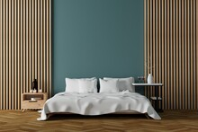 Modern Bedroom Interior With White Sheets And Wooden With Upright Wooden Lathes Wall Decor