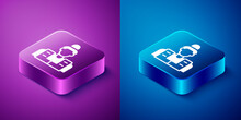 Isometric Fisherman Icon Isolated On Blue And Purple Background. Square Button. Vector