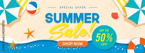Tela Summer sale banner vector illustration. Summer beach flat design