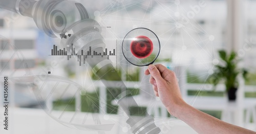 Composition of woman holding magnifying glass with medical data processing