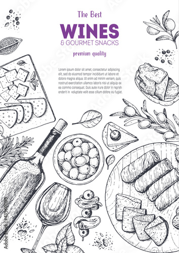 Wines and gourmet snacks frame vector illustration. Snacks for wine hand drawn. Gourmet food set.