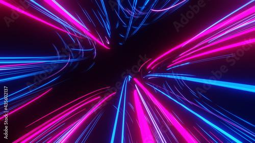 Billede på lærred Lights and stripes moving fast over dark background