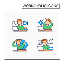 Workaholic Color Icons Set. Workaholism Prevention, Consequences. Depersonalization, Counterproductive Behaviour, Skip Breaks.Overworking Concept.Isolated Vector Illustrations