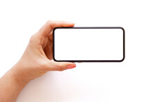 Mobile Phone With Empty White Screen Held Horizontally In Hand, Isolated On White Background