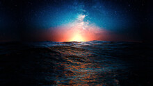 View Of The Horizon Between Restless Water Surface And A Starry Night Sky During Sunset - 3d Illustration